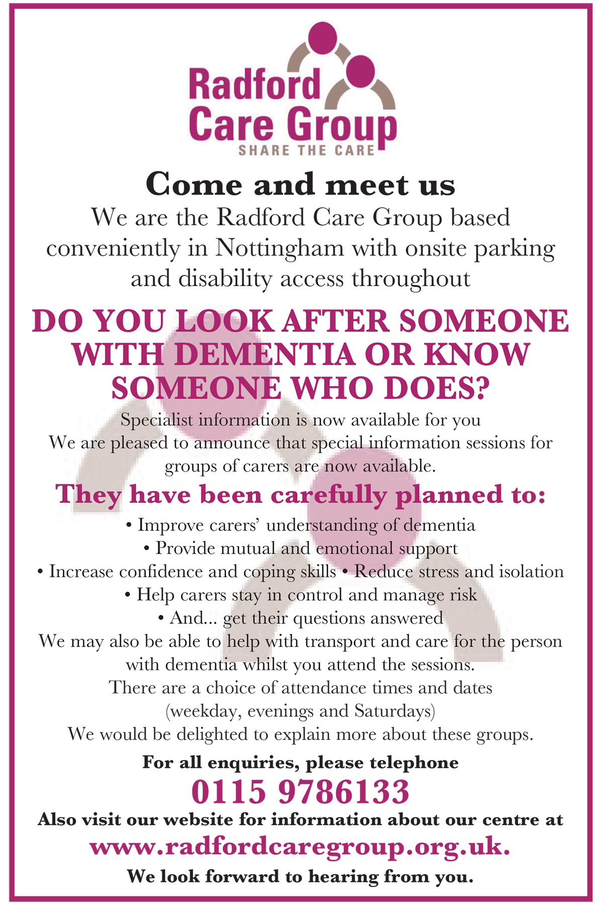 Radford Care Group Dementia care and support Nottingham
